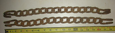 2 Heavy Rusty Iron Chain Pieces Plant Hanger Farm Tool Garden Decor Antique flf