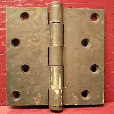 "1 Heavy Vintage Mid Century Hammered Finish 4"" X 4"" Hinges #02"