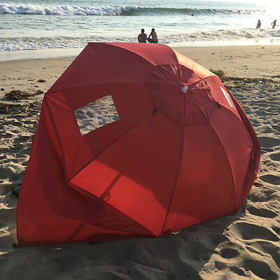 Beach Weather Shelter Umbrella Sand Sun Shade Outdoor UV Protect Red Portable