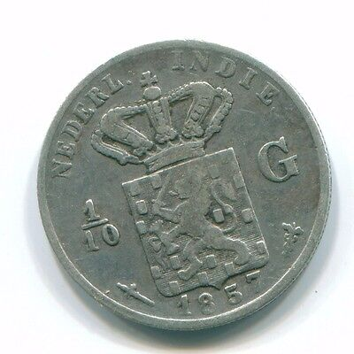 1857 Netherlands East Indies 1/10 Gulden Silver Colonial Coin Nl13143#3
