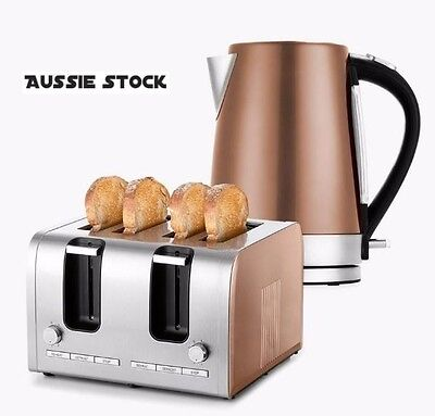 Stainless Steel 4 Slice Toaster and 1.7L Electric Kettle Bundle Copper Silver