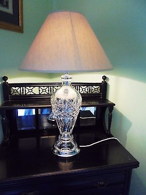 Huge Tipperary Irish Crystal Signed Table Lamp Working Waterford Pattern