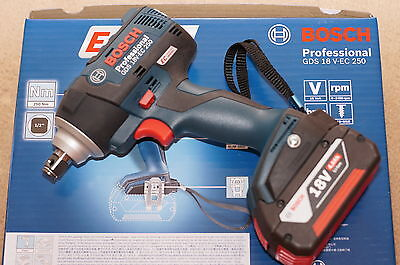 "Bosch Cordless Impact Wrench, ½ "" Drive, Gds 18 V-Ec 250, New"