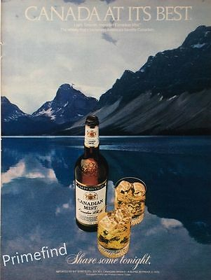1980 CANADIAN MIST Whisky Snowy Mountains Lake On the Rocks Original PRINT AD