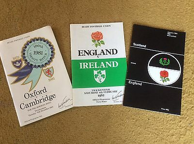 Vintage England Rugby Union Programmes