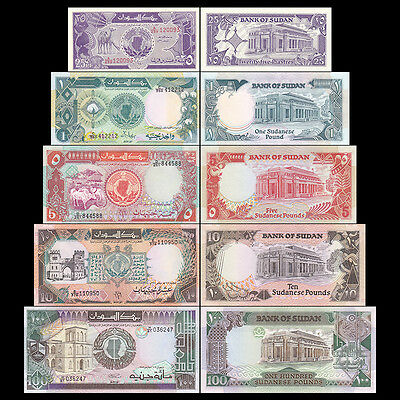 Set of 5Pcs SUDN SD 25 Piastres+1+5+10+100 Pounds Paper Money Uncirculated