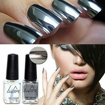 New 2Pcs Mirror Effect Chrome Metallic Silver Nail Art Varnish Polish &Base Coat