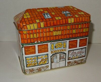 Vintage Tea Tin Hinged Lid House Shaped Collectible