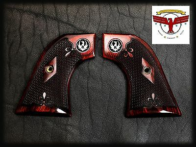 """Ruger Oxblood Grips ~ Blackhawk, """"Old"""" Vaquero, Single Six + Checkering + Med ^"""