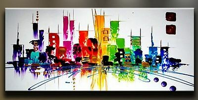 HUGE OIL PAINTING MODERN ABSTRACT WALL DECOR ART CANVAS Color City