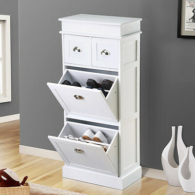 Wooden Cabinet Shoe Storage Home Organizer Furniture With Top Drawers White