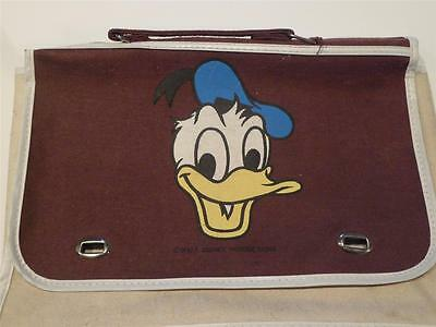 Vintage Walt Disney Productions Donald Duck Brown Satchel Bag Case, Rare