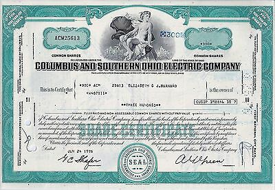 Columbus and Southern Ohio Electric Company, 1976  (300 Shares)