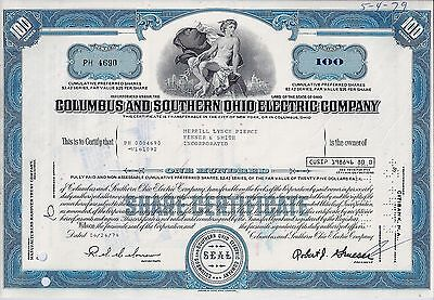 Columbus and Southern Ohio Electric Company, 1978  (100 Shares, Preferred)