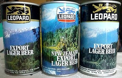 Collectable Beercans -  Set of 3 Leopard Export Lager S.Steel Beer cans
