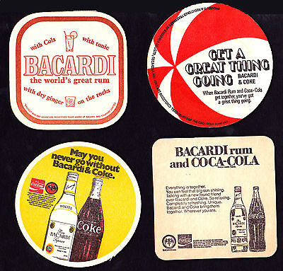 Collectable beer coasters -  Set of 4 assorted Barcardi & Cola coasters