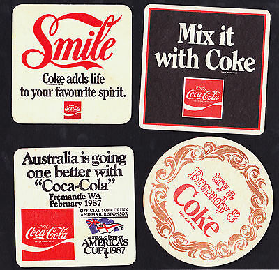 Collectable beer coasters -  Set of 4 assorted Coca Cola coasters