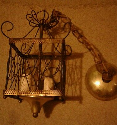 Vintage Metal 70S Square Chandelier About 13 Inches Tall Holds 2 Bulbs