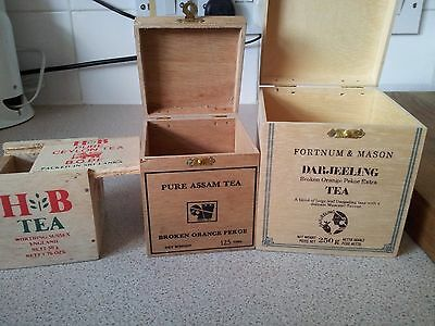 Wood Tea Boxes  3 Assorted  Empty