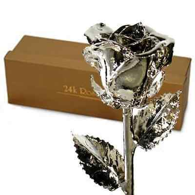 Platinum Dipped Real Rose w/ Gold Gift Box!