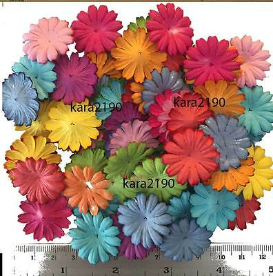 100 Assorted Color Mulberry Daisy Scrapbook Cardmaking Paper Flowers #A2