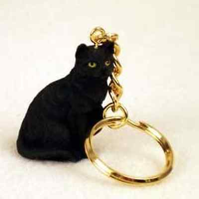 Shorthair Black Cat Keychain