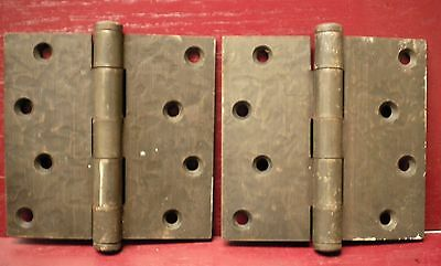 "2 Heavy Vintage Mid Century Hammered Finish 4"" X 4"" Hinges #01"