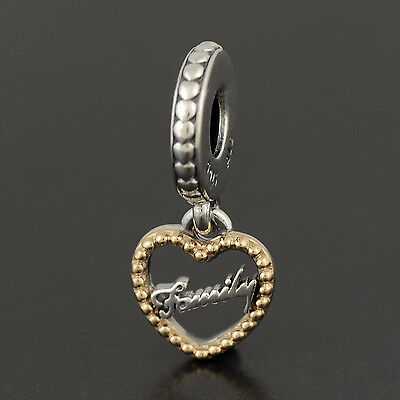 Authentic Genuine Pandora Sterling Silver 14k Gold Loving Family Charm - 792011