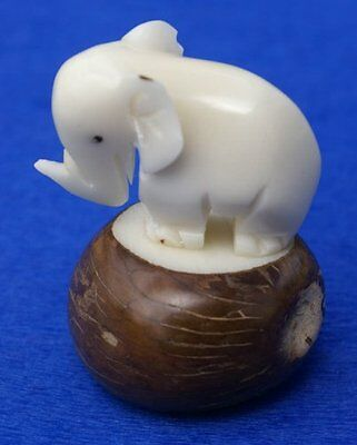 Elephant Tagua Nut Figurine White Sculpture Vegetable Ivory Carving Collectible,