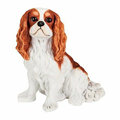 "Cavalier King Charles Spaniel Solid Hand Painted Dog Statue 5.6"" Blenheim Color"
