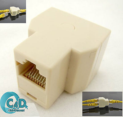 RJ45 Ethernet LAN Network Y Splitter 2 Way Adapter 3 Ports Coupler Connector