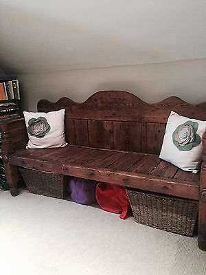Antique Victorian Solid Pine Bench/settle/pew