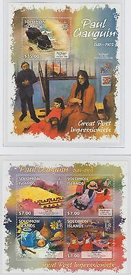 Solomon Islands Great Post Impressionists Paul Gauguin 2 Stamp Sheets 2013 U/M