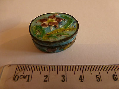 Chinese Sterling Silver and enamel oval snuff box