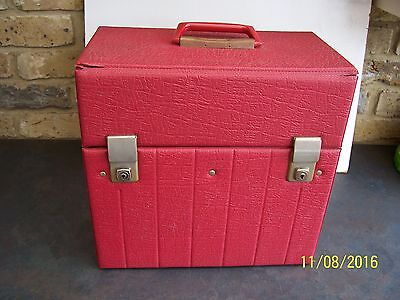Vintage Red Padded Lp Storage Case Holds 50    Con Vg+