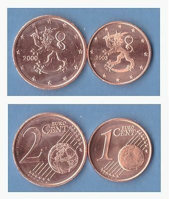 Finland 1 cent and 2 cents coins UNC
