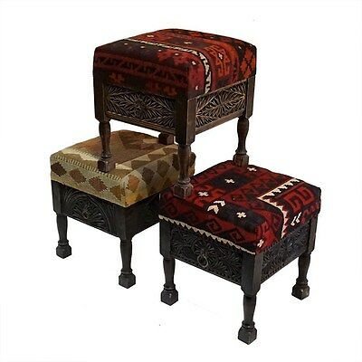 Silkroute STO127  Kilim Carved Stool