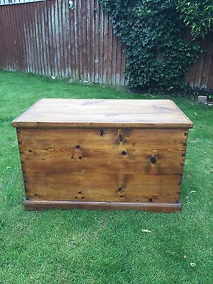 Antique Solid Waxed Pine Ottoman Or Coffee Table