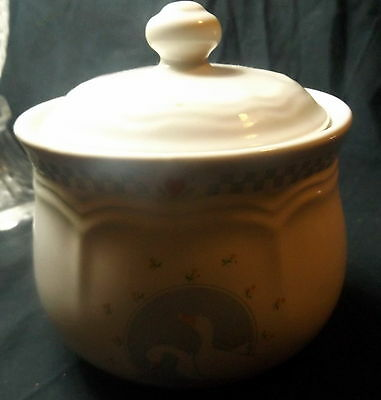 """Stoneware White Lidded Bowl. """"Moonlight """" With Geese. Size 8 x 9 cm."""