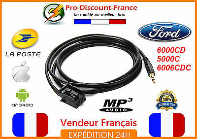 Cable auxiliaire jack MP3 AUX FORD 6000CD 5000C 6006CDC ANDROID IOS MUSIQUE