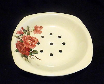Staffordshire Midwinter Stylecraft Vegetable Dish White With Pink Roses.