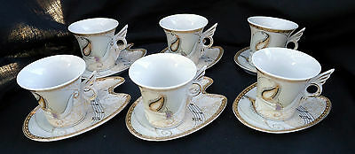 Set Of 6 Demitasse Cups & Saucers With A Musical Theme