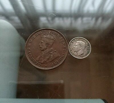 1952 Silver Australia George VI 3 Pence and 1921 George V 1 Penny