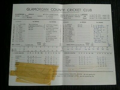 Glamorgan Yorkshire 1973 Cricket scorecard scores partly Geoff Boycott signed