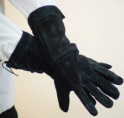 Medieval-LARP-SCA-Re-enactment LEATHER GAUNTLET HUNTING GLOVES 2 sizes & colours