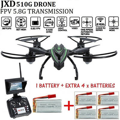 NEW JXD 510G RC Drone Quadcopter 5.8G HD Monitor Camera FPV Extra 4 x Batteries