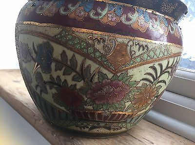 "Chinese Oriental Hand Painted Plant Pot. 8"" Tall"