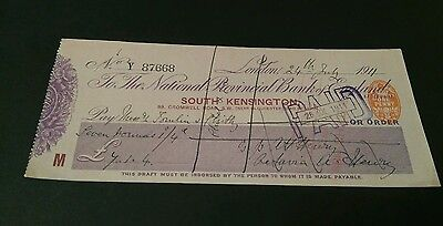 National provincial bank cheque south Kensington 1911 (8x3)