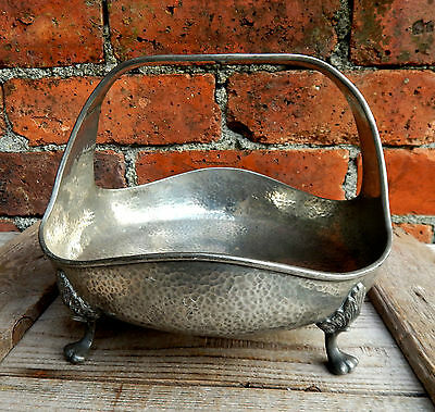 Arts & Crafts Vintage Hand Beaten Hammered Pewter Fruit Bowl On Legs Centrepiece