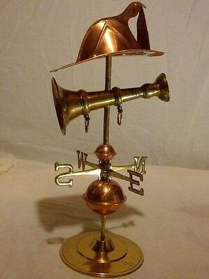 """A VINTAGE 15"""" TALL BRASS AND COPPER tABLE WEATHER VAIN WITH FIREMAN HAT"""